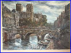RAYMOND BESSE Huile sur toile Paris 1945 Le Pont Saint Michel