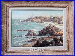 Rare grande huile sur toile de JIVA Biarritz, Pointe Saint-Martin, Pays Basque