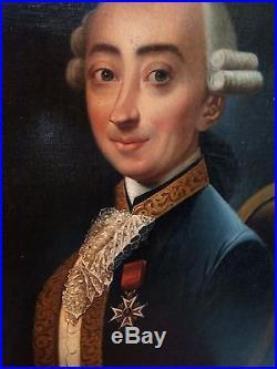 Rare portrait ancien huile toile noble aristocrate officier Louis XVI fin XVIII