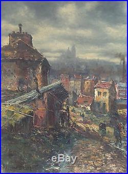 Raymond Besse Tableau 40/50 Peinture Hst Le Brocanteur À Saint Ouen Rare ++
