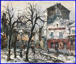 Raymond Besse Tableau Hst Peinture Originale Paris Montmartre Sous La Neige
