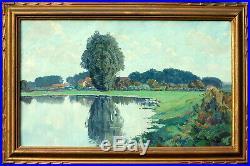 Raymond URBAIN, paysage lacustre, village en Lorraine, campagne, Nancy, tableau