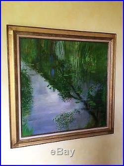 René Génis Reflets sur le Lac Huile Sur Toile 80X80 Cadre Delf