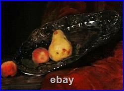 René LEGRAND tableau nature morte fruits poires raisin plat argent orfèvrerie