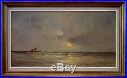 Romain Steppe, 1910, Bénézit, Coté 4200! Voiliers au Couchant! Mer du Nord