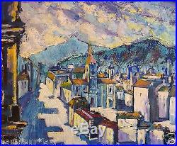 Ruben GROSMAN (1914-2010) HsT Pueblo azul 1970 / Fauvist / Fauvism / Fauviste