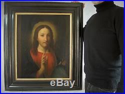 SPLENDIDE PORTRAIT DE CHRIST H/T XIXè ESPRIT RENAISSANCE EC. FLAMANDE RELIGION