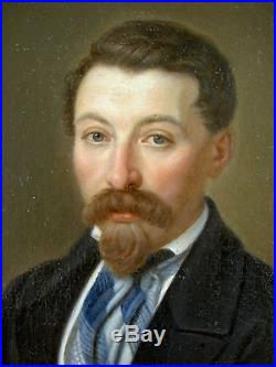 SUPERBE PORTRAIT DE DANDY ROMANTIQUE XIXè HOMME EN COSTUME HUILE/TOILE VERS 1860