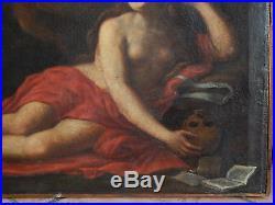 SUPERBE TABLEAU ITALIEN HUILE sur TOILE Femme allongé avec vanité Fin XVIIIème