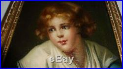SUPERBE TABLEAU PEINTURE HUILE SUR TOILE PORTRAIT ENFANT 18 ème