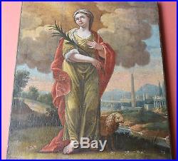 Saint AGNES Martyre Rome Tableau HUILE Ancienne XVII XVIII