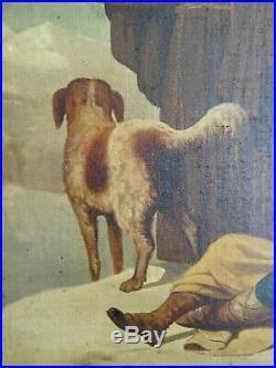 Sauvetage En Haute Montagne Par Des Religieux-superbe Peinture De 1864, Signée