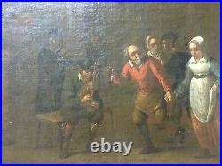 Scène de taverne, Ecole flamande XVIIIe, Huile sur toile, Tableau ancien