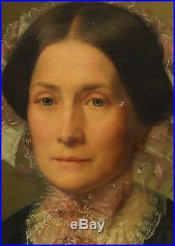 Scipion Rolland portrait de femme Huile sur toile du XIXème siècle Second Empire