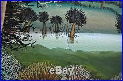 Serbie Belgrade Tableau Naif Paysannes aux oies peinture sign M. Dragan né 1950