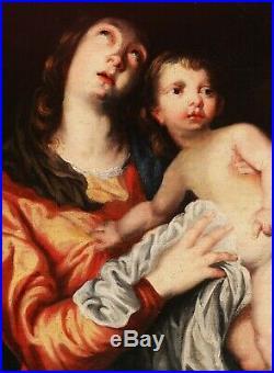 Sir Anthony VAN DYCK tableau Vierge Marie Enfant Jésus Maternité 18ème siècle