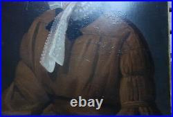 Sup. Portrait d'une aristocrate, début XIXè, huile sur toile parfait état
