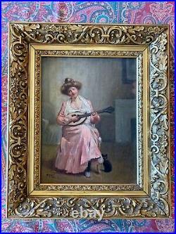 Superbe Huile sur toile La Jeune Musicienne au chat signée et datée Poujol