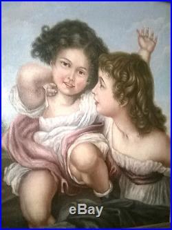 Superbe Huile sur toile époque XVIII ème Les deux soeurs Ecole Française Rare