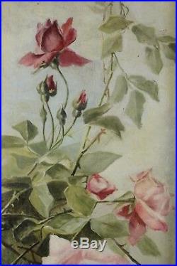 Superbe, Paire de tableaux, Grand Pendant, Jetée de roses, Fleurs, Roses, Signé