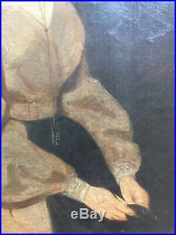 Superbe Portrait Femme XIXe HsT Tableau Ancien A identifier Bourgeoisie Noblesse