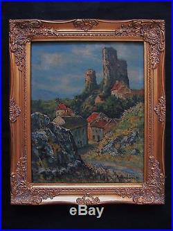 Superbe huile par Raymond Besse chemin du calvaire et château d'Hérisson