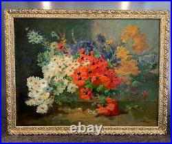 Superbe huile sur toile XIXe Bouquet de Fleurs signée Joseph ODDE