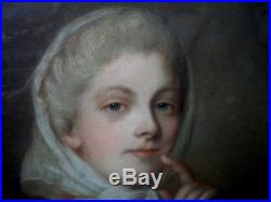 Superbe pastel d'une aristocrate daté 1797 Epoque XVIIIèmePeriode Directoire