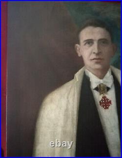 Superbe portrait d'un Chevalier de Saint Jean de Jérusalem, huile sur toile