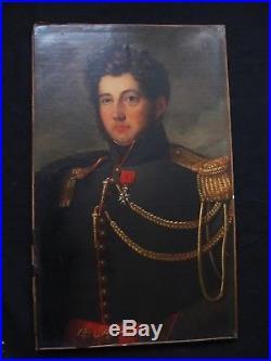 Superbe portrait d'un officier époque Empire école de Jacques Louis David
