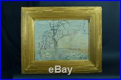 TABLEAU ANCIEN 19 ème Pointillisme paysage arboré signé Lemaitre elv. Seurat