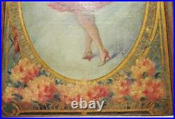 TABLEAU ANCIEN DANSEUSE dans les fleurs HUILE signé A. CHANTEAU (1874-1958)