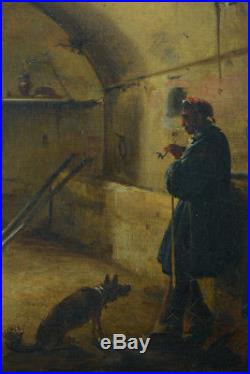 TABLEAU MARIUS GRANET huile 19ÈME SCÉNE ANIMÉE cellier PORTRAIT HOMME CADRE