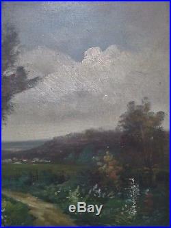 TABLEAU ancien signé Henri CATROU XIXe Paysage BARBIZON HUILE/TOILE CADRE doré