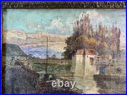TRES BEAU PAYSAGE XIXè H/T CADRE MONTPARNASSE REGENCE TABLEAU SIGNE
