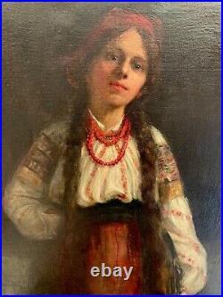 TRÈS GRANDE HUILE SUR TOILE Jeune fille à la cruche signée Betty HELDRICH