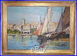 Tableau 1900 marine peinture huile toile San Savesse