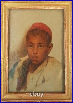 Tableau 19ème GUILLAUMET portrait jeune arabe ALGERIE peinture esquisse