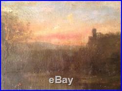 Tableau Ancien BARBIZON XIXe Pêcheur au coucher du soleil Dans le gout COROT