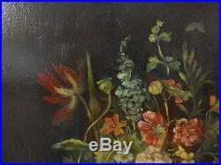 Tableau Ancien Huile Bouquet de Fleurs très garni XIXe Cadre doré à nettoyer