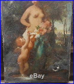 Tableau Ancien Huile Nu Féminin Fleurs Ange Paysage Barbizon XIXe Signé N. Diaz
