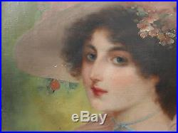 Tableau Ancien Huile Portrait Femme Chapeau Fleurs Signé J. MOUNIER Art Nouveau