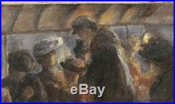 Tableau Ancien Huile Scène Contrôleur Omnibus Tramway 1900 Abel-Truchet