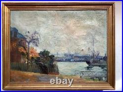 Tableau Ancien Impressionniste Marine Ecole de ROUEN MAGDELEINE HUE (1882-1944)