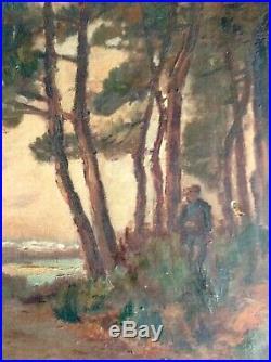 Tableau Ancien Pinède Bassin d'Arcachon Huile sur toile Tampon IMBERTI Bordeaux