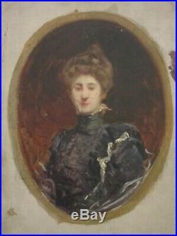 Tableau Ancien Portrait de Femme attribué Ferdinand HUMBERT XIXe Esquisse