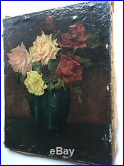 Tableau Ancien XIXe Bouquet de Roses Huile sur toile signée