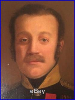 Tableau Ancien XIXe Portrait Officier Légion d'Honneur Médaille de Sainte Hélène