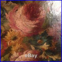 Tableau Ancien XVIIIe XIXe Bouquet de Fleurs dans un vase Médicis 18th 19th