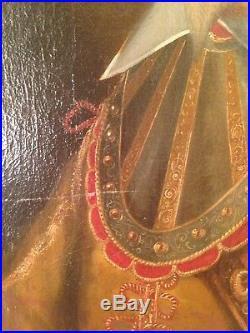 Tableau Ancien XVIIe Portrait du Seigneur de Gauville 17e Huile sur toile c1630